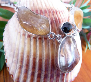 natural tumbled citrine necklace custom made jewellery